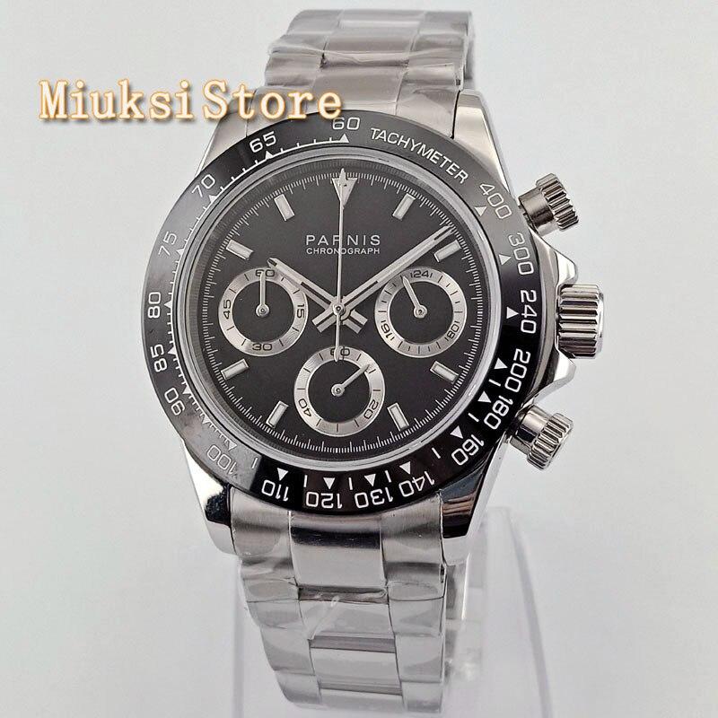 Parnis 39mm reloj cronógrafo de cuarzo hombres de marca superior de lujo de negocios impermeable cristal de zafiro vender bien reloj de pulsera