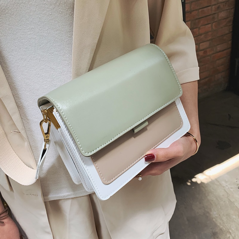 Bolso bandolera de cuero de color de contraste para mujer 2019, bolso de viaje, bandolera de hombro Simple a la moda para mujer