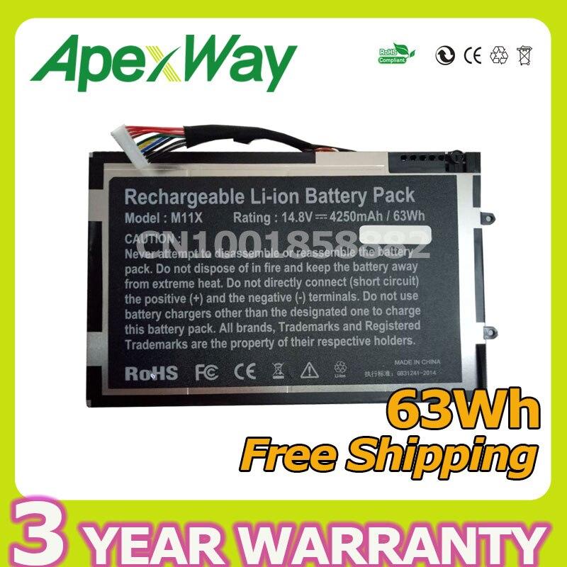 Apexway 63Wh batería del ordenador portátil para DELL Alienware M11X R1 R2...