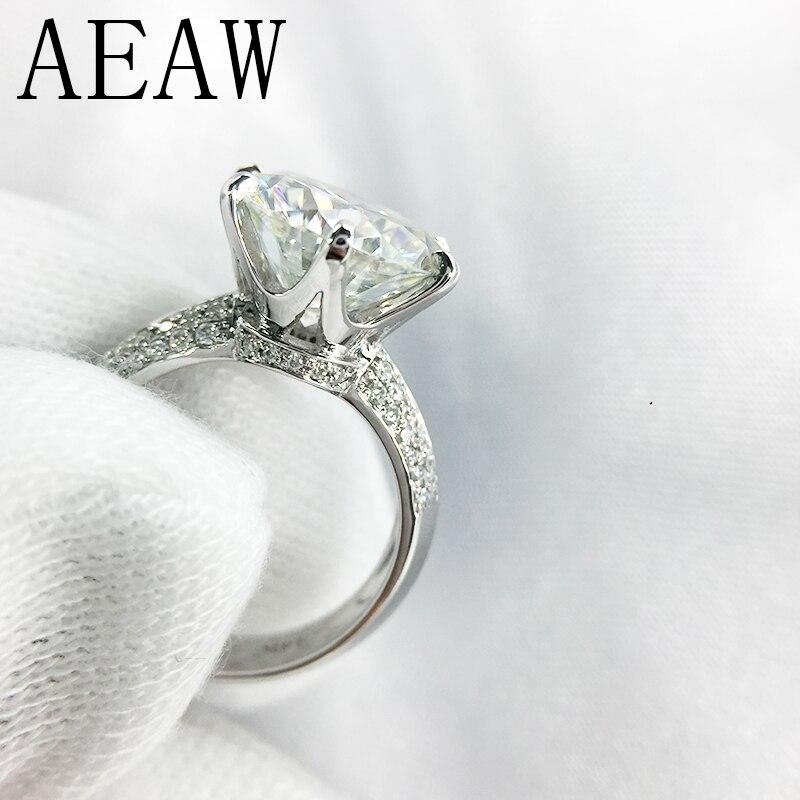14 كيلو 585 الأبيض الذهب 3ct مويسانيتي الماس خاتم الخطوبة للنساء غرامة مجوهرات مركز 9 ملليمتر F اللون المويسانتي حلقة