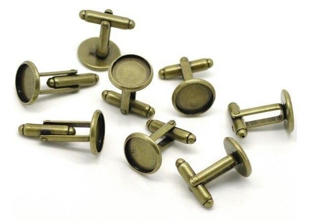 Free Shipping 14mm Bronze Tone French Cufflink Blank Cufflink base findings
