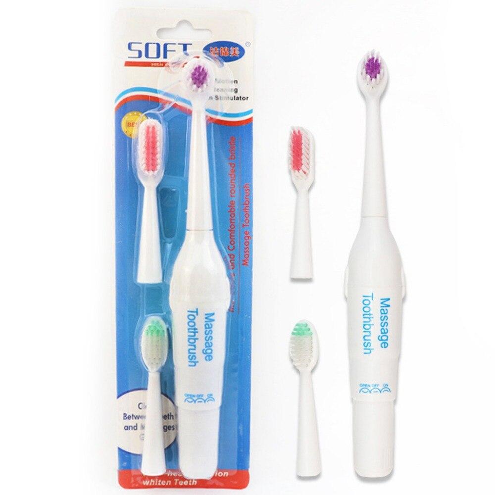 Cepillo de dientes de masaje eléctrico para adultos 3 cabezales de repuesto portátil operado por batería