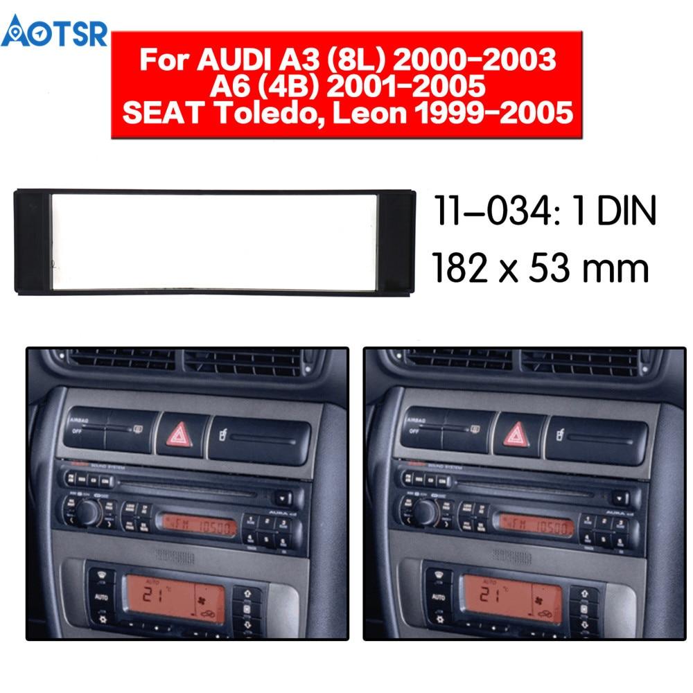 1Din Fascia pour Fiat Scudo Audi A3 (8L) A6 (4B) Seat Toledo Leon Radio CD DVD stéréo panneau tableau de bord Kit d'outils pour habillage plaque de cadre