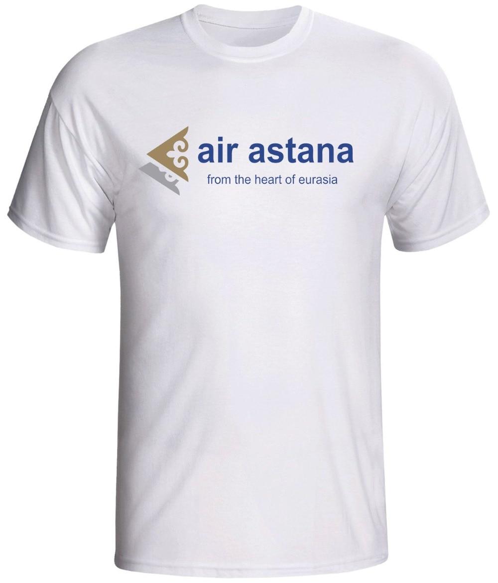 Camisetas 2019 Air Astana camiseta logotipo clásico línea aérea cuello redondo ropa sudadera