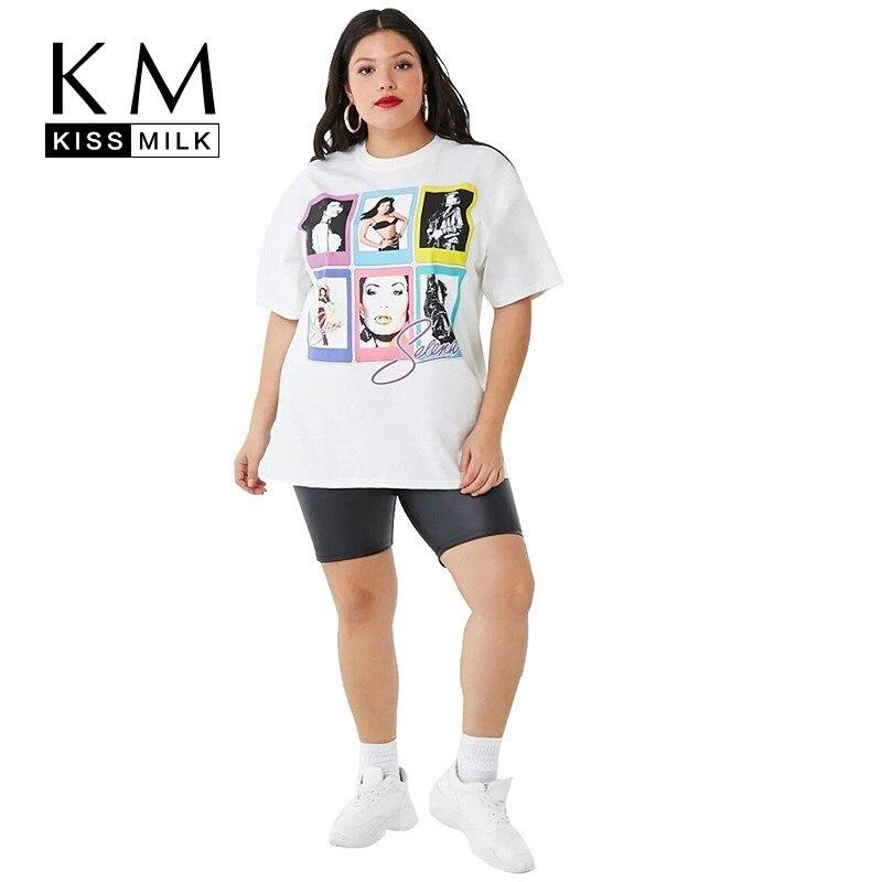 Kisleche 2020 nueva Blanco sólido simplicidad estilo americano y europeo Commuter de talla grande gran oferta señoras estilo informal camiseta