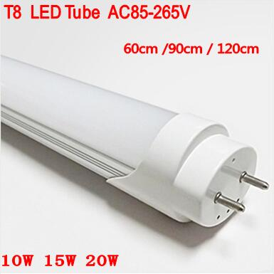 30 unids/lote 2ft 4ft T8 tubo Led 60 cm, 90cm 120cm luz 10W 15W 20W SMD2835 bombillas Led tubos G13 AC85-265V cálido blanco frío