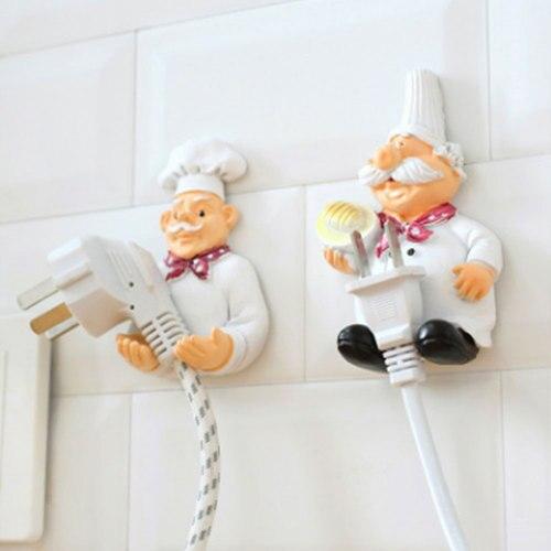 Gancho de Cable soporte organizador Cable de alimentación estante de almacenamiento diseño de Chef soporte de enchufe de cocina adhesivo montado en la pared