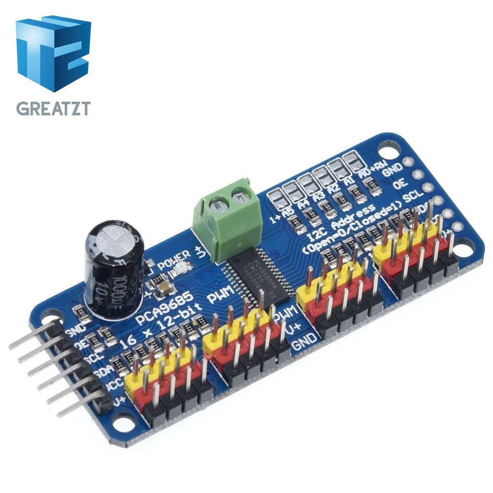 Greatzt 1 pces 16-channel 12-bit pwm/servo driver-i2c interface-pca9685 para raspberry pi diy servo escudo módulo