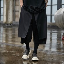 Mr-Donoo Mens Punk Gothic Black Wide Leg Pants Streetwear Male Straight Harem Trousers Skirt Pant High Street Pants A303-X009