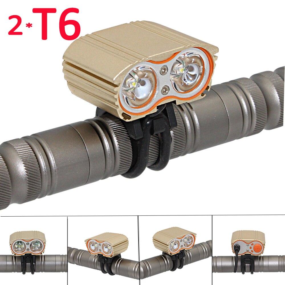 Luz de bicicleta 2400LM 2x XML T6 luz LED de bicicleta linterna USB recargable impermeable lámpara ciclismo