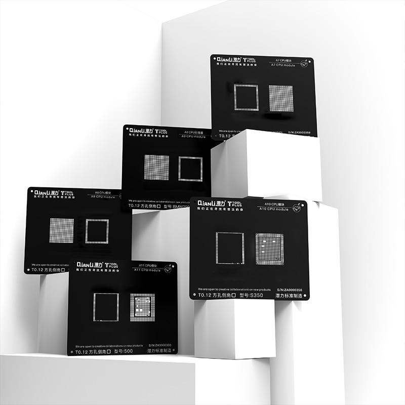 Plantilla de Red de acero negro de reparación QIANLI para IPHONE 5/5S/6G/6 S/7G/8G Plantilla de CPU de fuente de alimentación