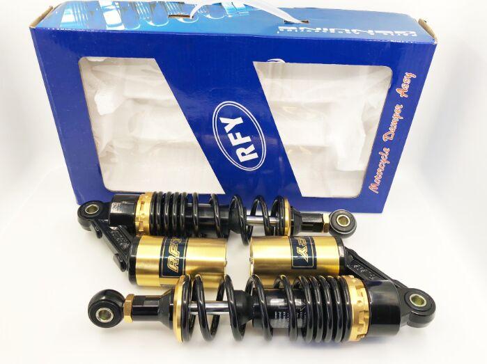 """Rfy 1 par de amortecedor de motocicleta, universal 11 """"280mm para absorção de choque de ar, suspensão traseira para yamaha, motor scooter atv preto + ouro Proteção contra a queda    -"""