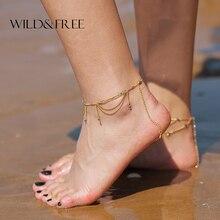 Nieuwe Delicate Kwastje Foot Chain Enkelband Sieraden Goud Legering Enkelband Kralen Barefoot Sandalen Strand Voet Armband Voor Vrouwen