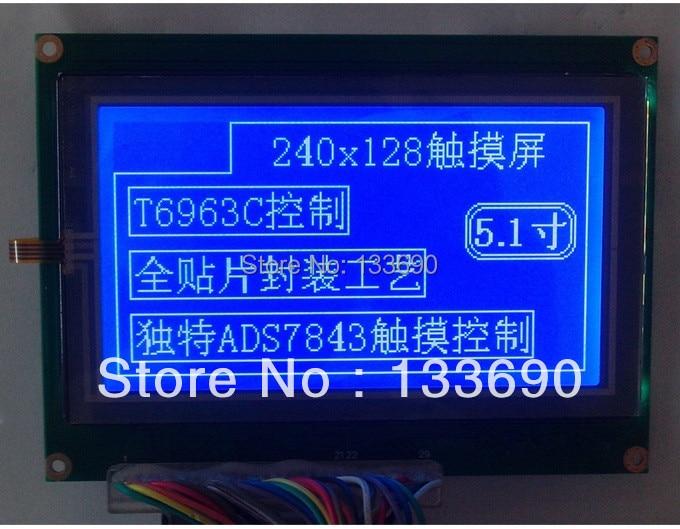 5,1 pulgadas 240X128 puntos gráficos LCM, 29pins. pantalla táctil resistente de cuatro cables azul blanco 240128 pantalla LCD