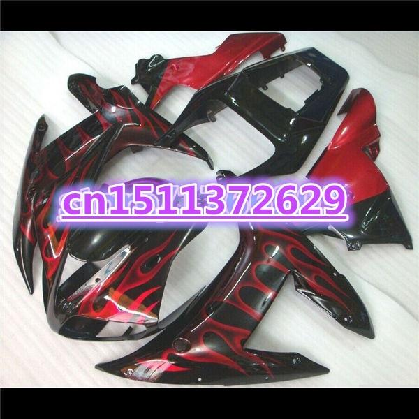 ل 02-03 YZF R1 02 03 YZF 1000 اللهب الحمراء في الأسود YZF-R1 YZF-1000 YZFR1 YZF1000 2002 2003 هدية الجسم