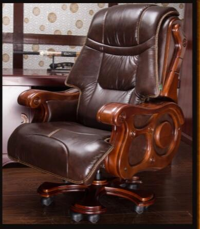 Luxurious solid wood chair office chair computer chair can lie skin massage boss chair.. leather computer chair household office chair office stool long sitting chair solid wood boss chair lying massage