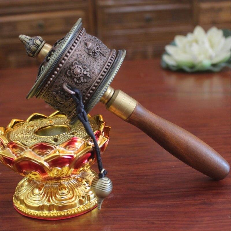 Budismo Tibetano exquisitos símbolos propicios cojinete dúplex silencioso Ultra suave manivela rueda de oración