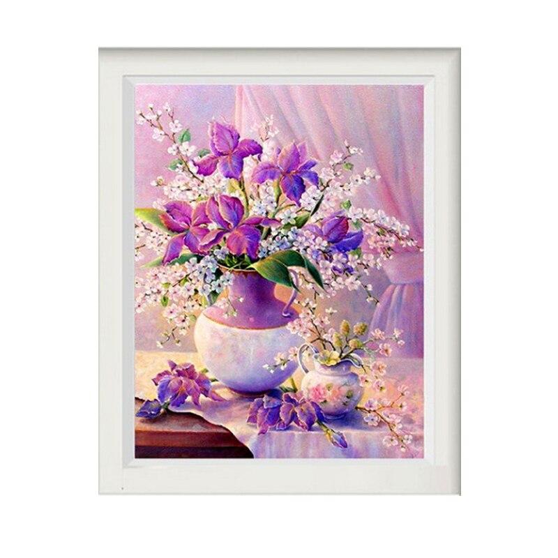 Para Principiantes parcial bordado diamante pintura perforadora redonda púrpura floral diamant pintura 5d diy para niños mosaico de diamantes