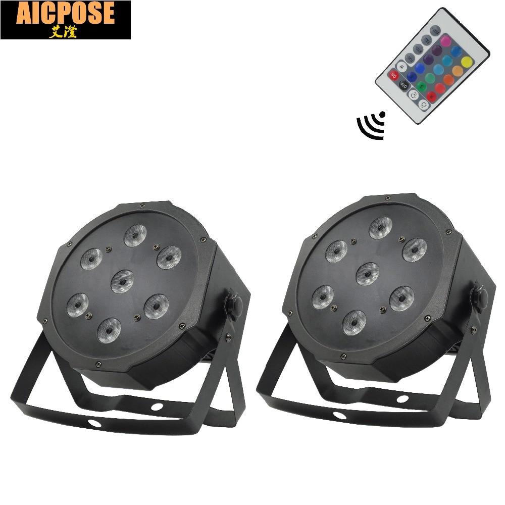 2pcs/lots 7*12w Remote  lights 7x12W led Par lights RGBW 4in1 flat par led dmx512 disco lights professional stage dj equipment