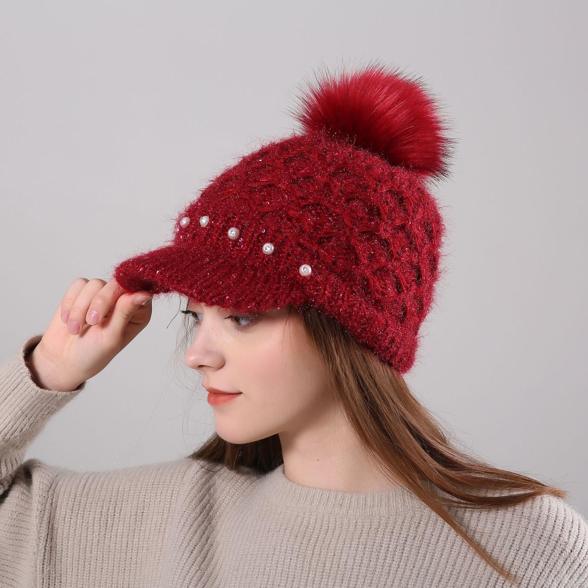 Señoras de terciopelo cálido lana Cap niñas perla diamante pelo de conejo Gorro con pompón moda tejida Cap cómodo Casual sombrero con viseras B-8449
