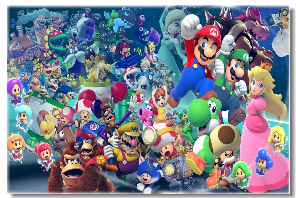 Murales de pared de lona personalizados, póster de Super Mario Party, papel tapiz de Super Mario Luigi, pegatinas de juego para pared, calcomanías de café para sala de estar #0461 #