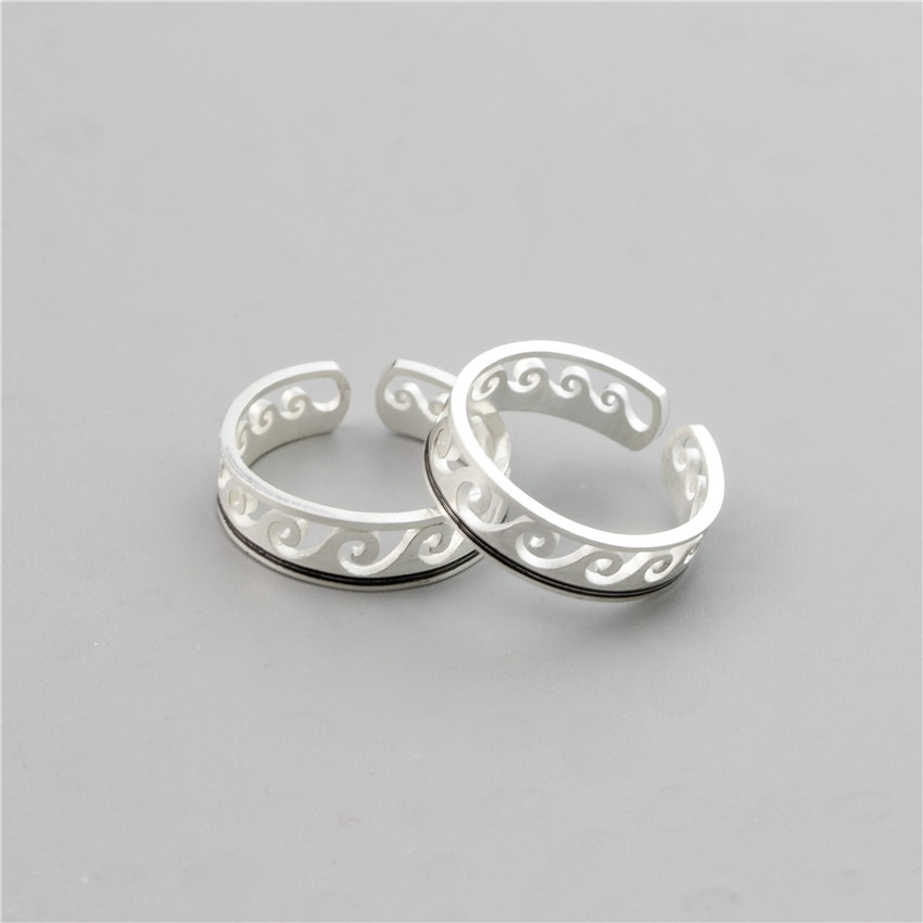Серебряные волнистые кольца, пляжные ювелирные изделия из нержавеющей стали, регулируемые кольца для серфинга для мужчин и женщин, подарки,...
