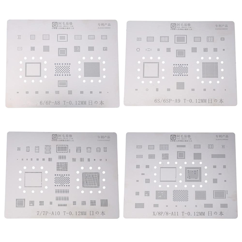 4pcs/lot Japan Steel Phone Logic Board BGA Repair Stencil for iPhone 8 7 7P 6S 6 6P Motherboard IC Chip Ball Soldering Net