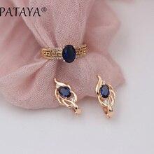PATAYA nouveautés femmes 585 or Rose boucles doreilles courtes boucles doreilles Vintage ensembles bleu foncé ovale Zircon naturel ensemble de bijoux fins