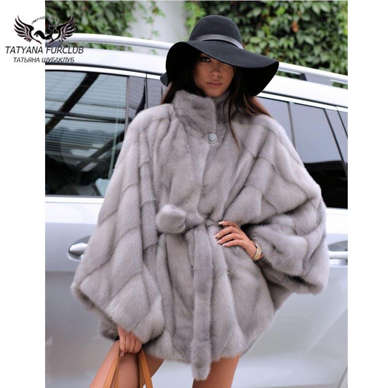 Tatyana 2021 جديد نوع حقيقي فرو منك معطف المرأة 70 سنتيمتر الخفافيش طويلة نوع الفراء القماش الفاخرة فتاة باردة جلد طبيعي الفراء أبلى معطف