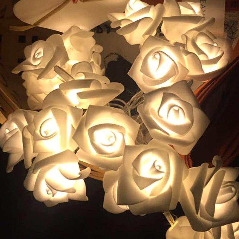 Luzes de natal 1.2M LEDs 10 Rose Flor Luzes Cordas Lâmpada para Interior/Ao Ar Livre Do Casamento Do Natal Decoração Suprimentos