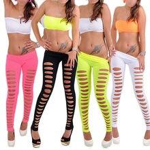 Moda novedosa mallas de color caramelo para mujeres y niñas pantalones mallas rasgadas delgadas sexis ajustados elásticos