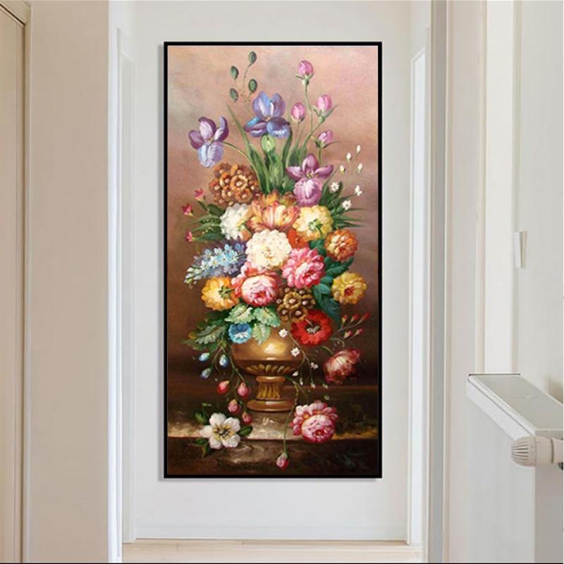 DIY 5D Diamond Embroidery Flowers Full Round Diamond Painting Harbor Picture of Rhinestone Mosaic Bead Home Decor Living Room