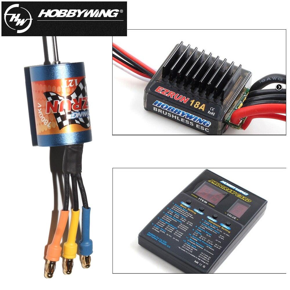 100% Brand New Hobbywing EZRUN Combo 12T/18T 7800KV/5200kv Motor+18A ESC + Program Card For 1:18 RC car
