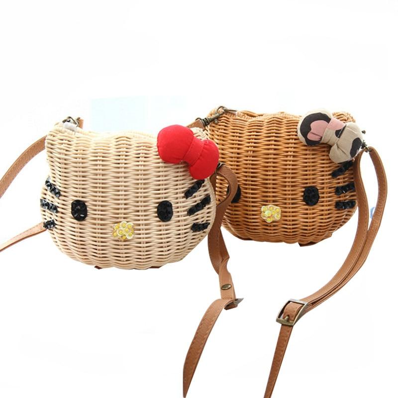 Women Cute Handbags Rattan Straw Beach Bag Kitty Cartoon Character Wicker Basket High Quality Girls Messenger Bag