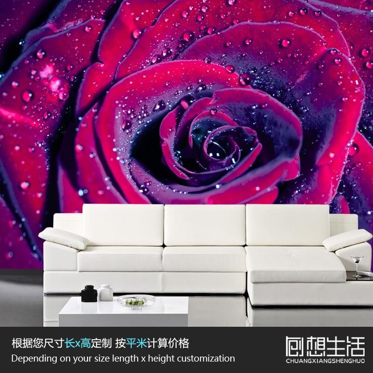 Mural Rose 3D 3D wallpaper bedroom TV wedding studio mural 3D wallpaper background wall customization
