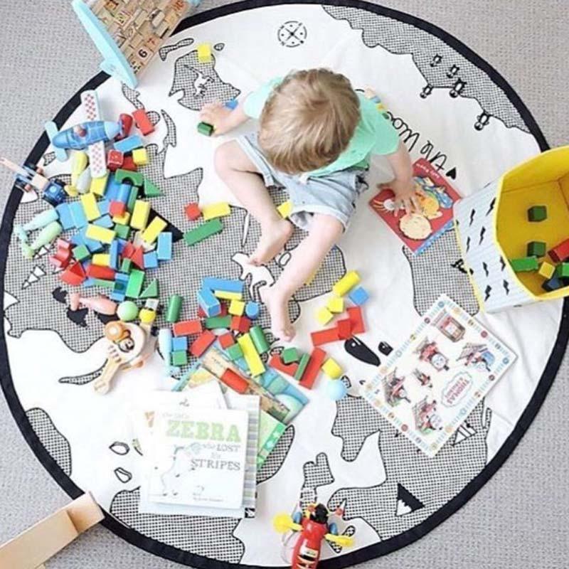 135CM Round Crawling Carpet Kids Room Decoration Map Pattern Game Mat Baby Bedding Stroller Carpets For Living Room Alfombra