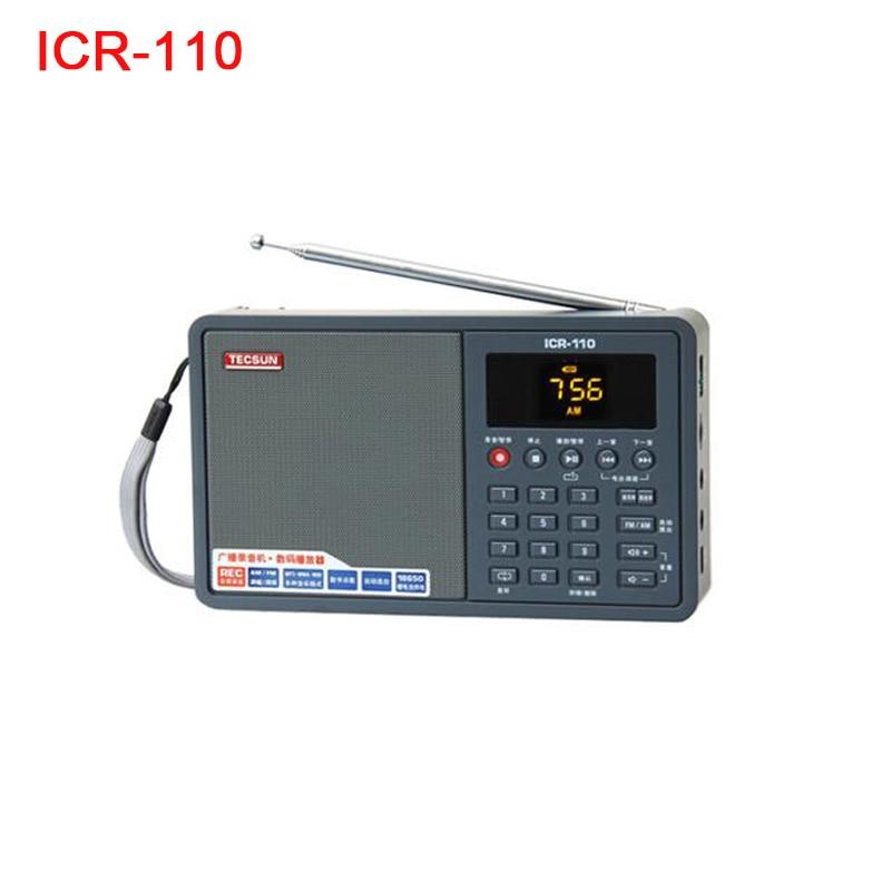 Tecsun ICR-110 ICR110 AM Radio FM, altavoz portátil con grabadora de voz WAV WMV Mp3 TF, reproductor de Audio Digital