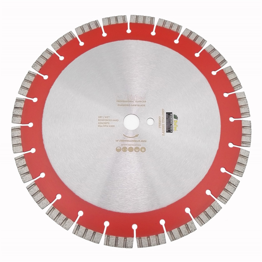 "DIATOOL 14 ""soldadas A Laser Profissional Alta segmentos Turbo Diamante Lâmina de Serra 358 MILÍMETROS Roda de Disco de Diamante De Corte De concreto Armado"
