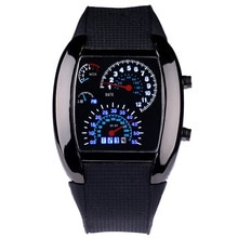 Unique Fashion Men Digital Watches Led Watch Men Race Speed Car Dot Fashion Sports Silicone Strap El