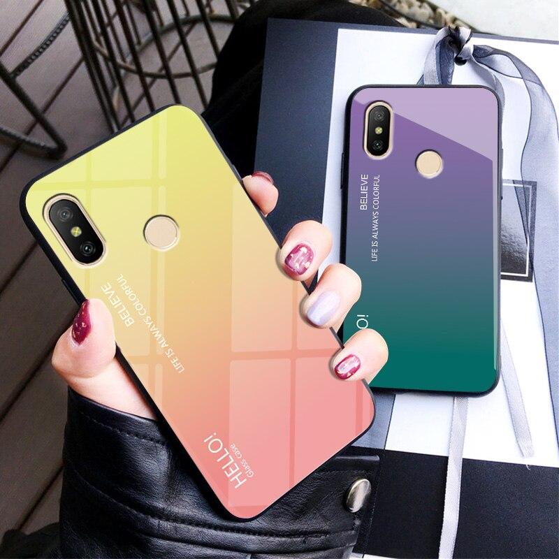Moda gradiente de vidro temperado capa casos de telefone para xiao mi 8 se 5x 6x a1 a2 vermelho mi nota 4 4x5 plus 5a pro 6 6a s2 volta caso