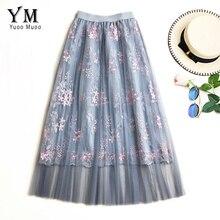 YuooMuoo 2019 été nouveau-venant coréen broderie fleur Tulle taille haute une ligne jupe Streetwear mariage maille jupe Saia Midi