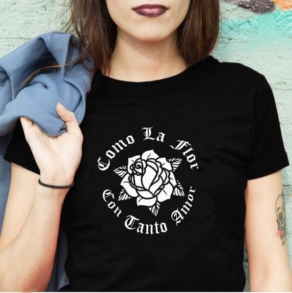 Camiseta kuakuayu HJN para niña rosa Power Como La Flor, Selena Quintanilla con estampado de flores, camiseta negra con gráfico de chica Latina para mujer