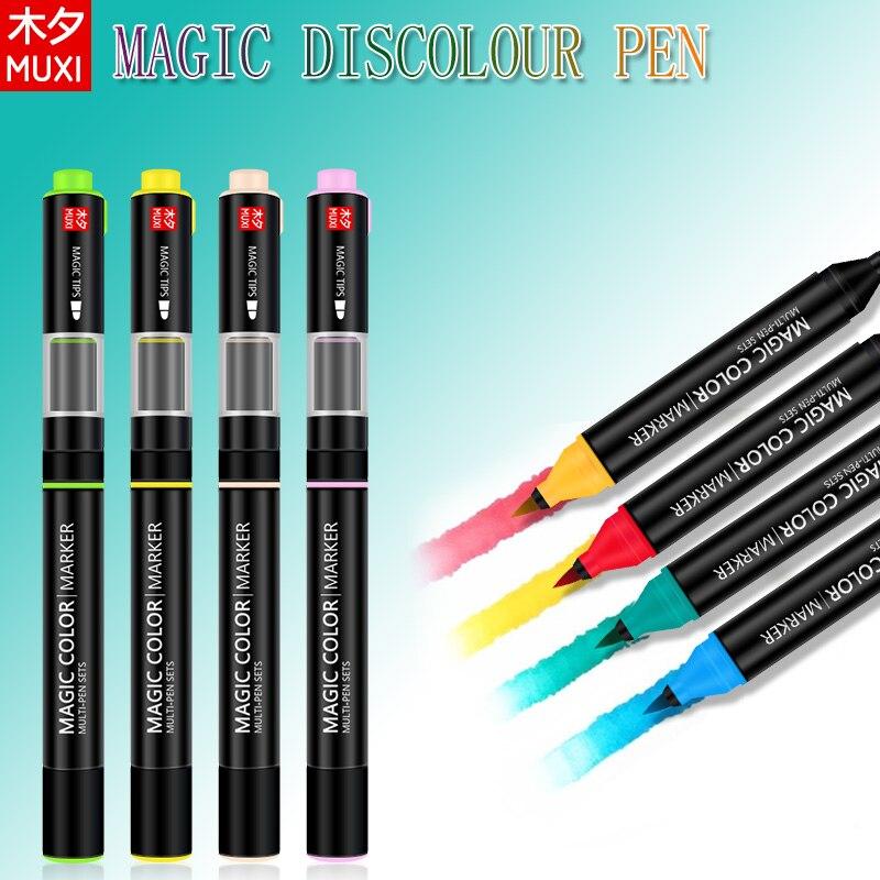 MUXI Magia Discolor Marcador Canetas Criativo Duplo Cabeça Magia Cor Canetas Multi-Conjuntos de canetas Para Presente Da Escola Escritório fontes da arte