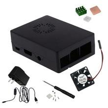 Elisona ABS Gespecialiseerd Shell Case Kit met Schroevendraaier Koellichaam Fan EU Plug Voeding voor Raspberry Pi 3B 2B B Pi3B