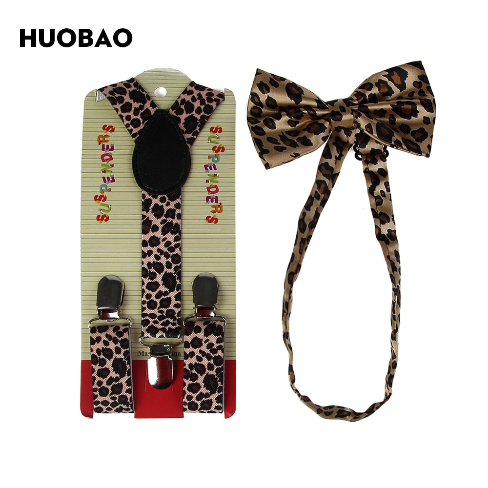 HUOBAO 2018 New Fashion Brown Leopard Suspenders And Bow Ties Sets For Children Kids Boys Girls