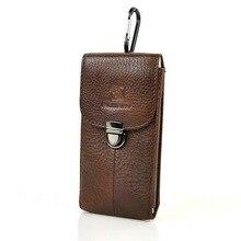 Riñonera de cuero de vaca auténtico para hombre, riñonera para teléfono móvil, riñonera clásica, funda retro con gancho Simple, bolsos de nuevo diseño