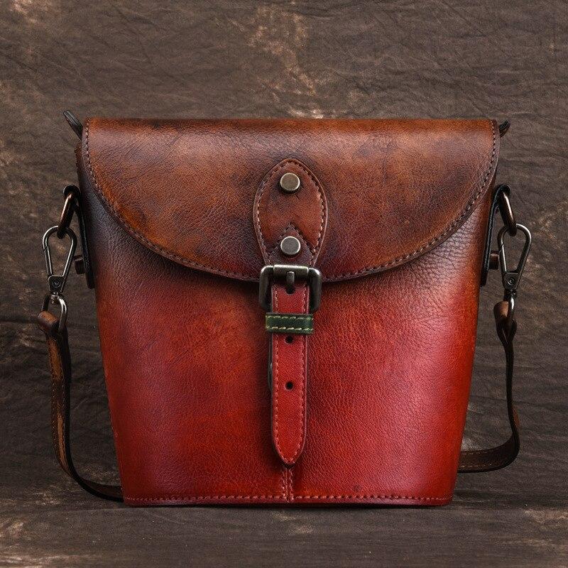 حقيبة كتف نسائية من الجلد الطبيعي ، حقيبة كتف واحدة ذات نوعية جيدة ، عصرية ، لون فرشاة ، عتيقة ، جلد طبيعي