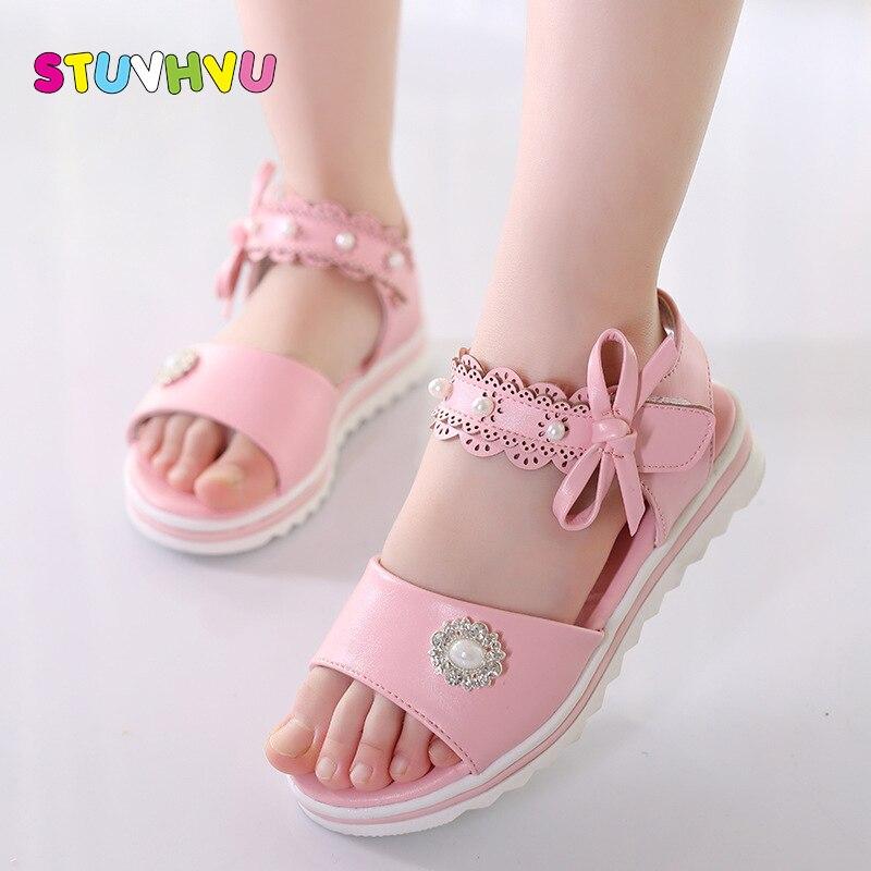 ¡Novedad de 2019! sandalias para niñas, sandalias con lazo de princesa para estudiantes de verano, sandalias de fondo suave calado con cuentas para niños, color blanco, rosa, talla 26-36
