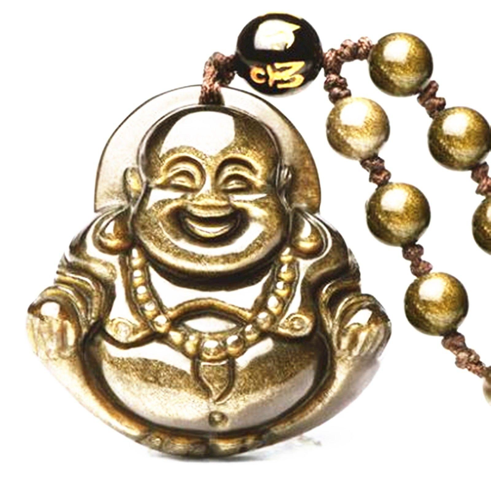 Koraba Fine Jewelry Natural Gold Obsidian Stone Buddha Charm Zen Pendant Necklace  Free Shipping
