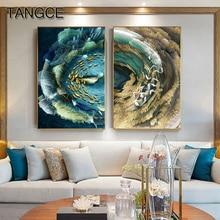 Abstrakte Goldene Feder Leinwand Malerei Großen Blauen Poster Grün Druck Luxus Wand Kunst Bild für Wohnzimmer 3D Wirkung Tableaux